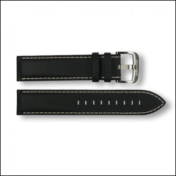 SportTaucher leather strap | Black